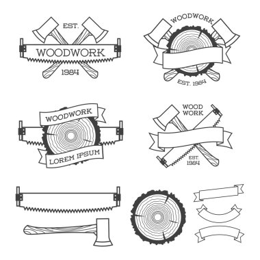 Woodwork label set with saw, ax and tree ring. Posters, stamps, banners and design elements. Isolated on white background.