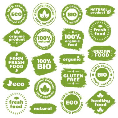 Natural product, healthy food, fresh food, organic product, vegan food, farm fresh food, gluten free, bio and eco label template watercolor shapes isolated on white background. Vector Illustration