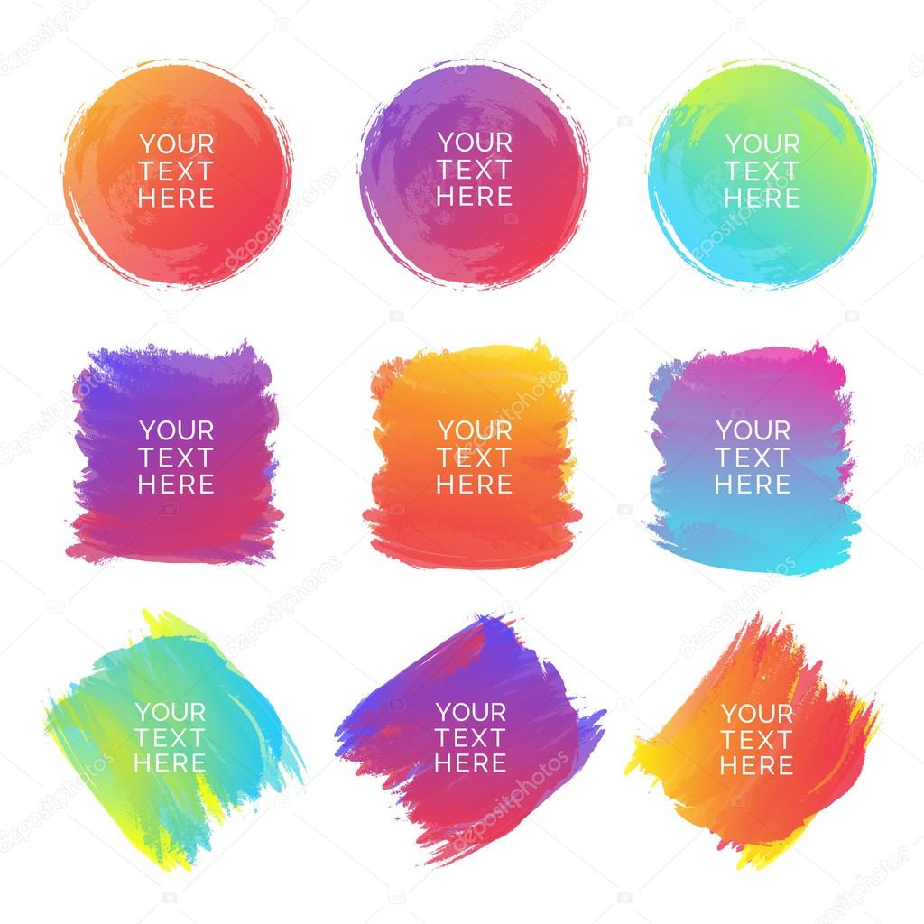 Hand-drawn watercolor brush strokes set of different shapes and colors isolated on a white background. Watercolor vector background. Vector Illustration
