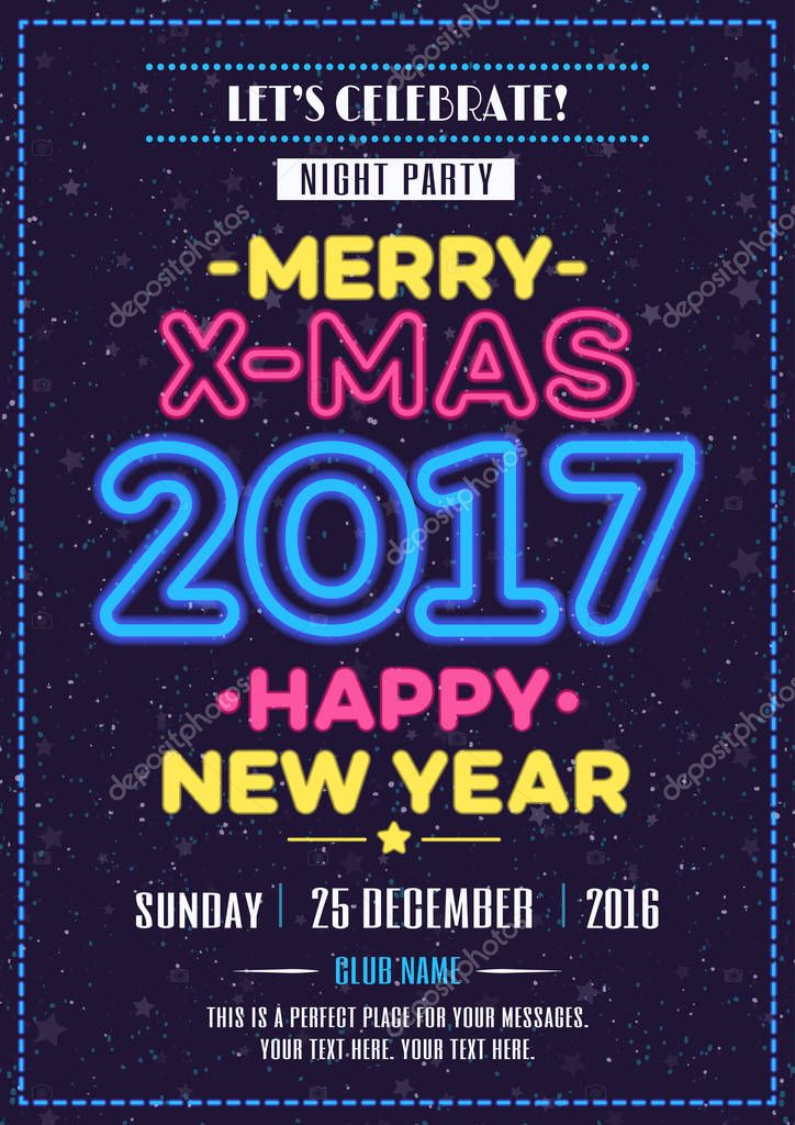 Frohe Weihnachten-Plakat-Neon-Stil — Stockvektor © VI6277 #128812162
