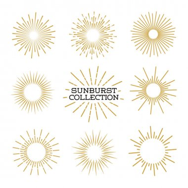 Set of sunburst design elements gold color