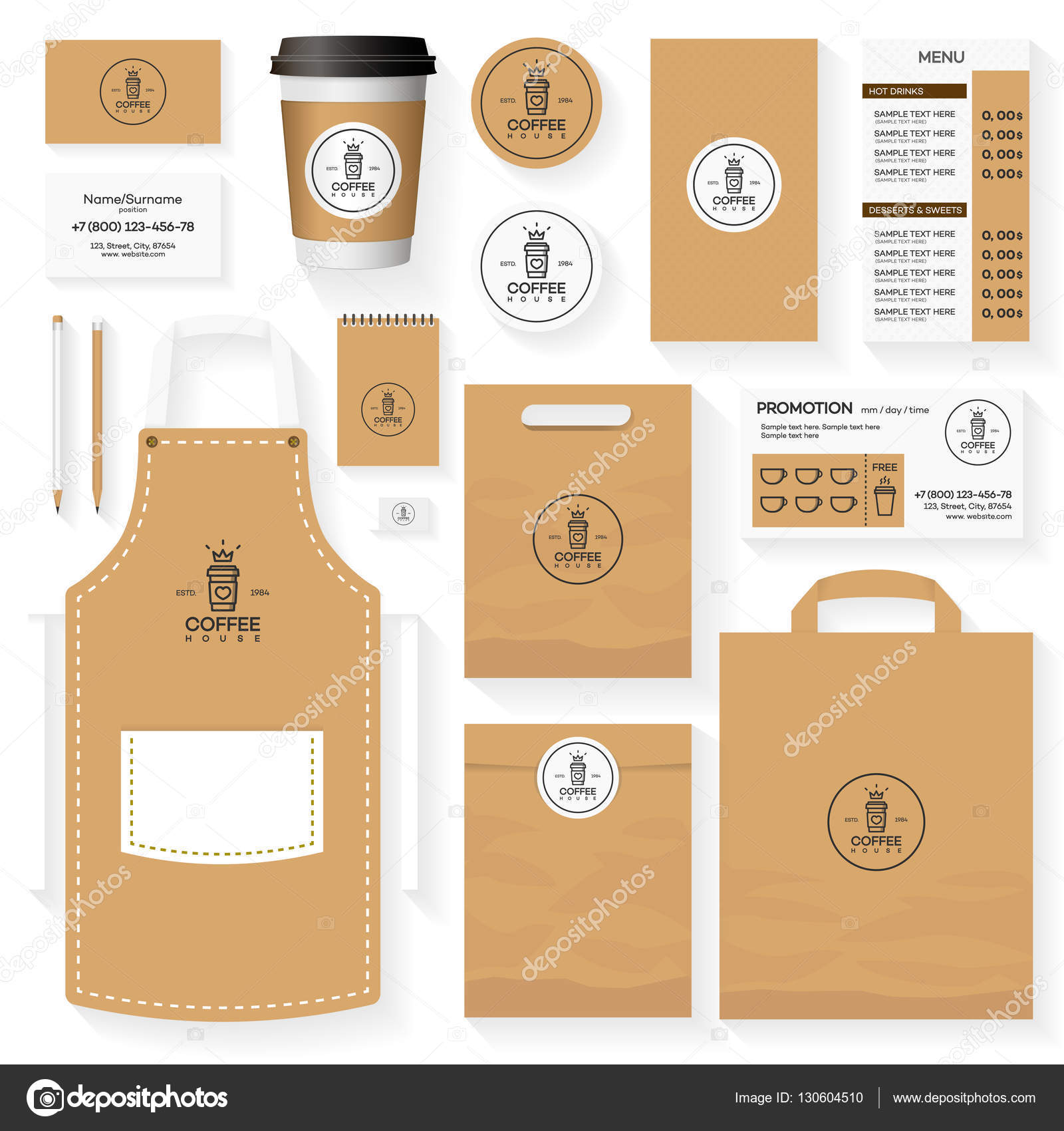 coffee house corporate identity template design set with coffee