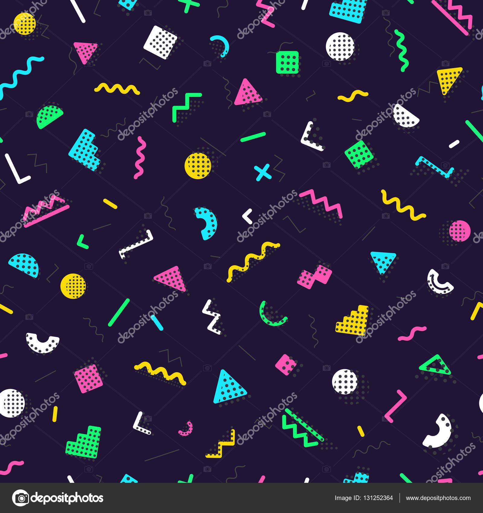 Memphis nahtlose Muster bestehend aus verschiedenen Farben Formen ...