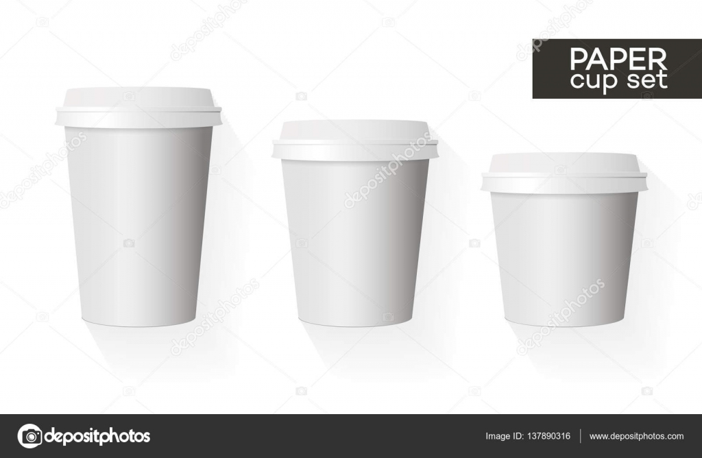 Coffee Paper Cup Template Set White Color And Shadow Stockvektor