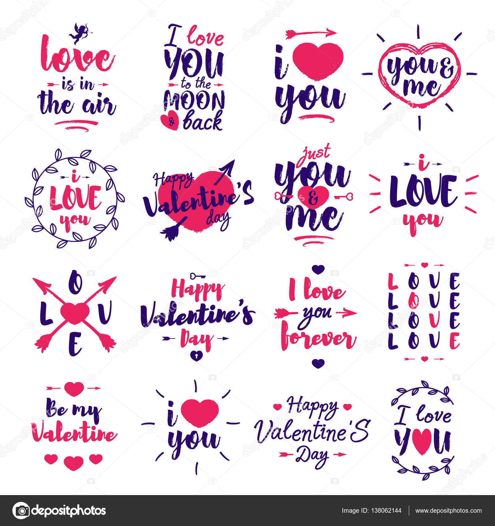 Happy Valentines day label set with lettering typography text – Valentine Day Label