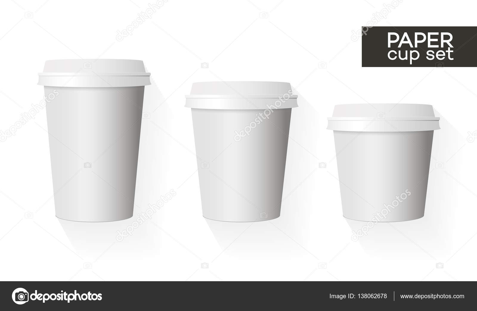 coffee paper cup template set white color and shadow isolated on