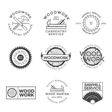 Set of carpentry service, sawmill and woodwork labels isolated on white background