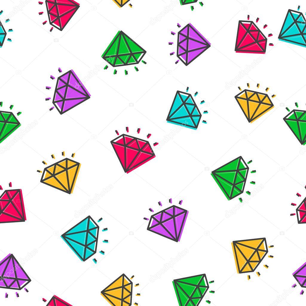 Diamond vector color style seamless pattern. Vector Illustration