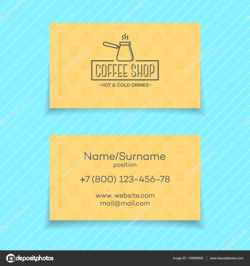 business card of coffee shop isolated on turquoise background