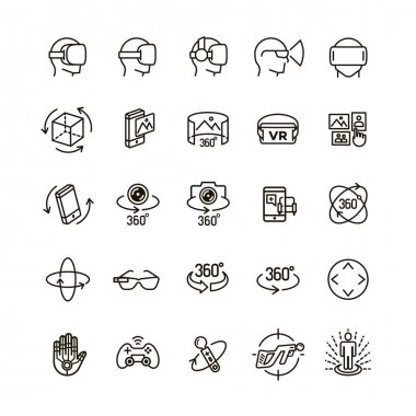 Set of virtual reality icons black think line style for your app design project