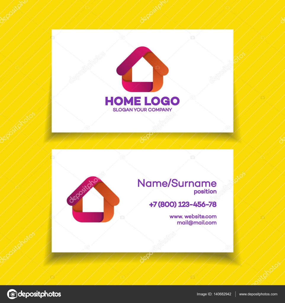 business card design template with home logo — stock vector