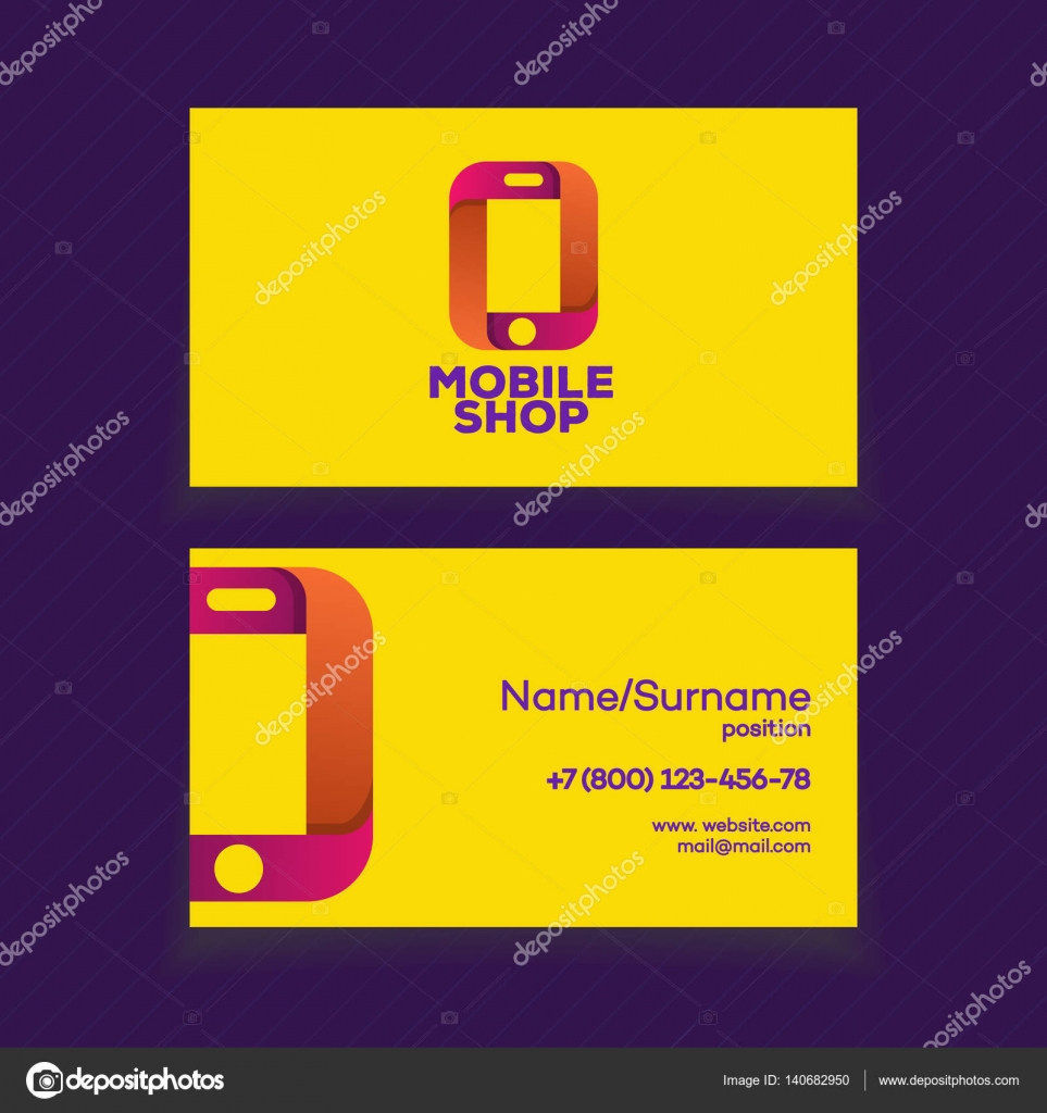 mobile shop business card design template — stock vector © vi6277
