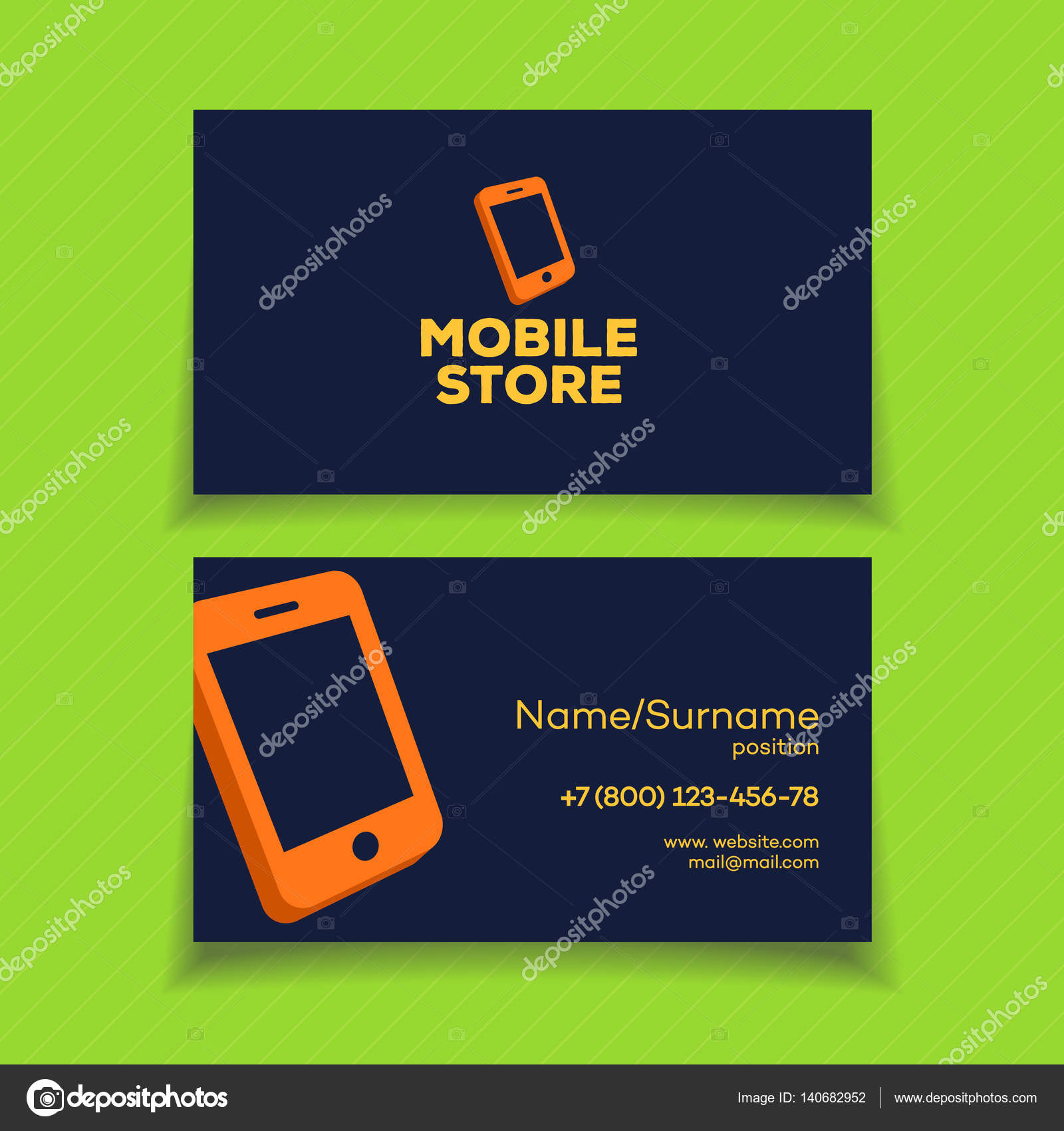 business card template with phone logo orange color stock vector