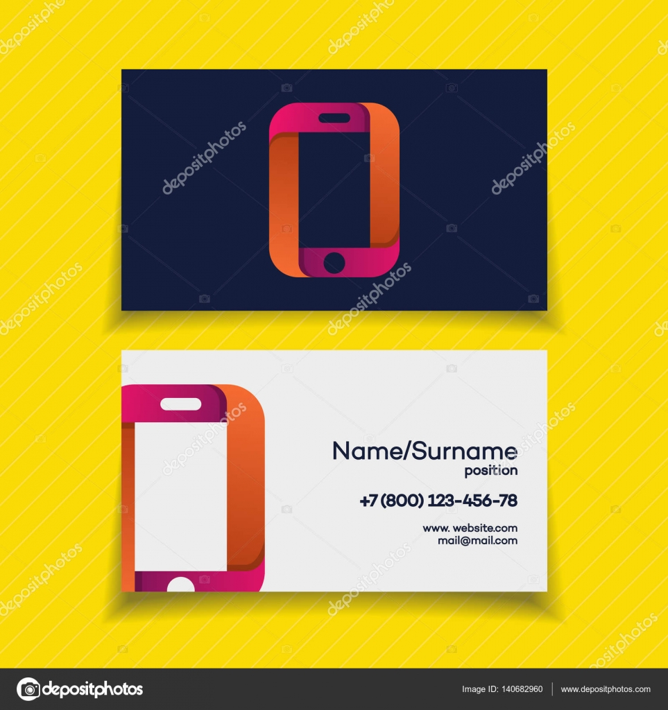 Business card design template with phone logo stock vector business card design template with phone logo on yellow background use for mobile store mobile shop phone service and repair perfect for your business reheart Images