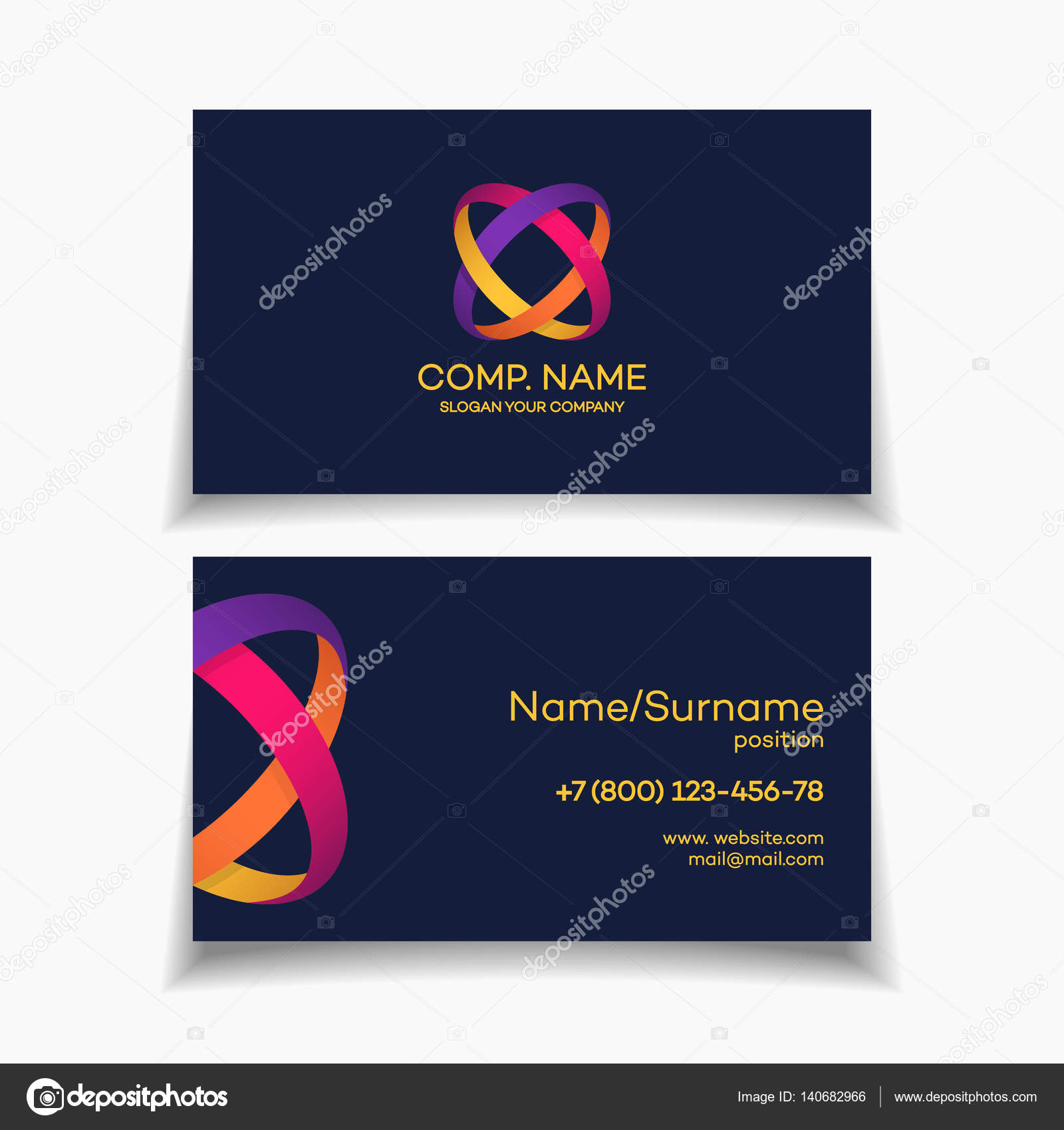 Business card template with two circle colorful abstract logo business card design template with two circle colorful abstract logo on dark background used for corporate identity marketing firm funds service magicingreecefo Image collections
