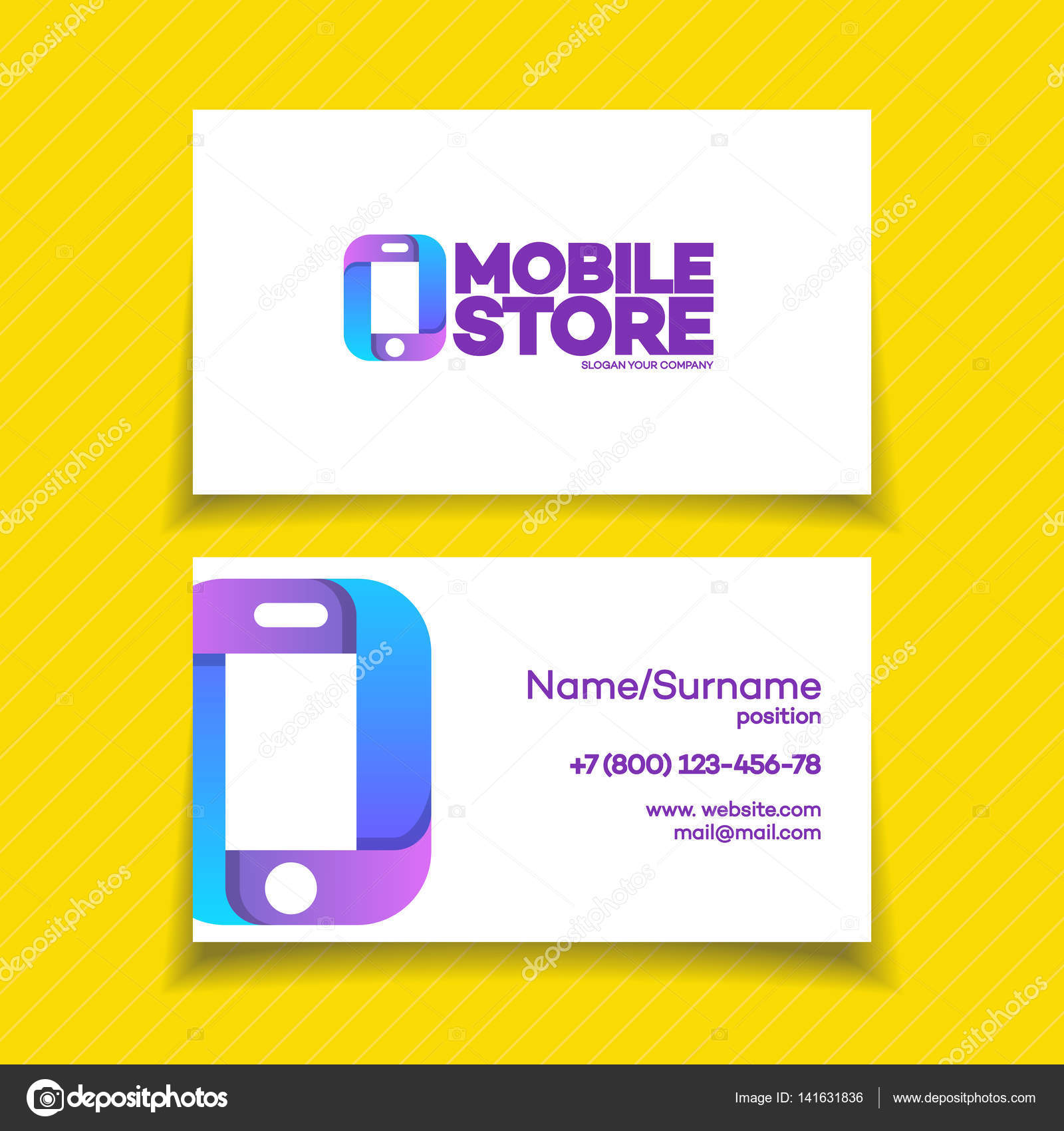 Mobile store business card stock vector vi6277 141631836 mobile store business card design template with phone logo on yellow background can used for mobile store phone service and repair magicingreecefo Gallery