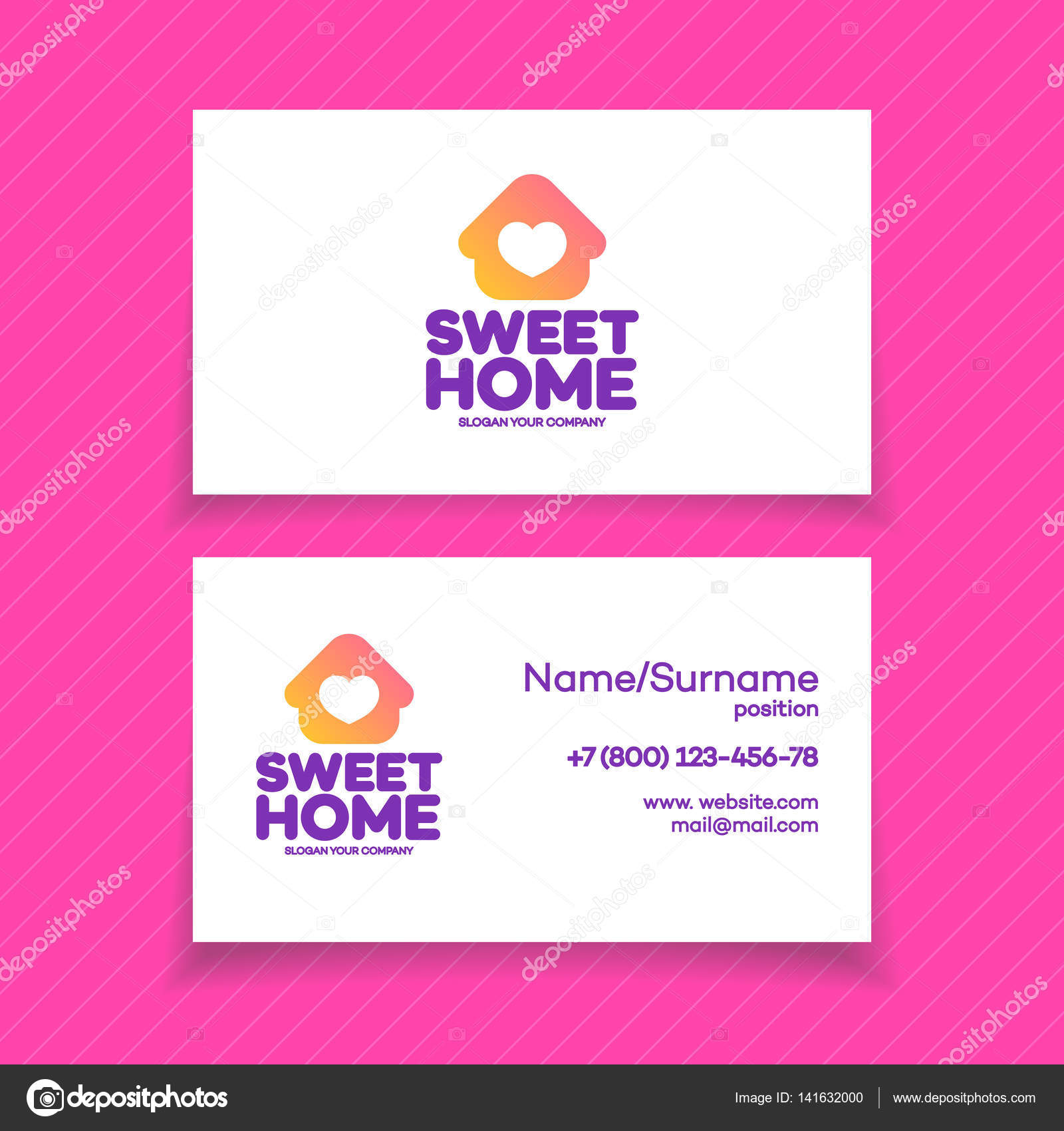 Depositphotos 141632000 Stock Illustration Business Card With Home Logo