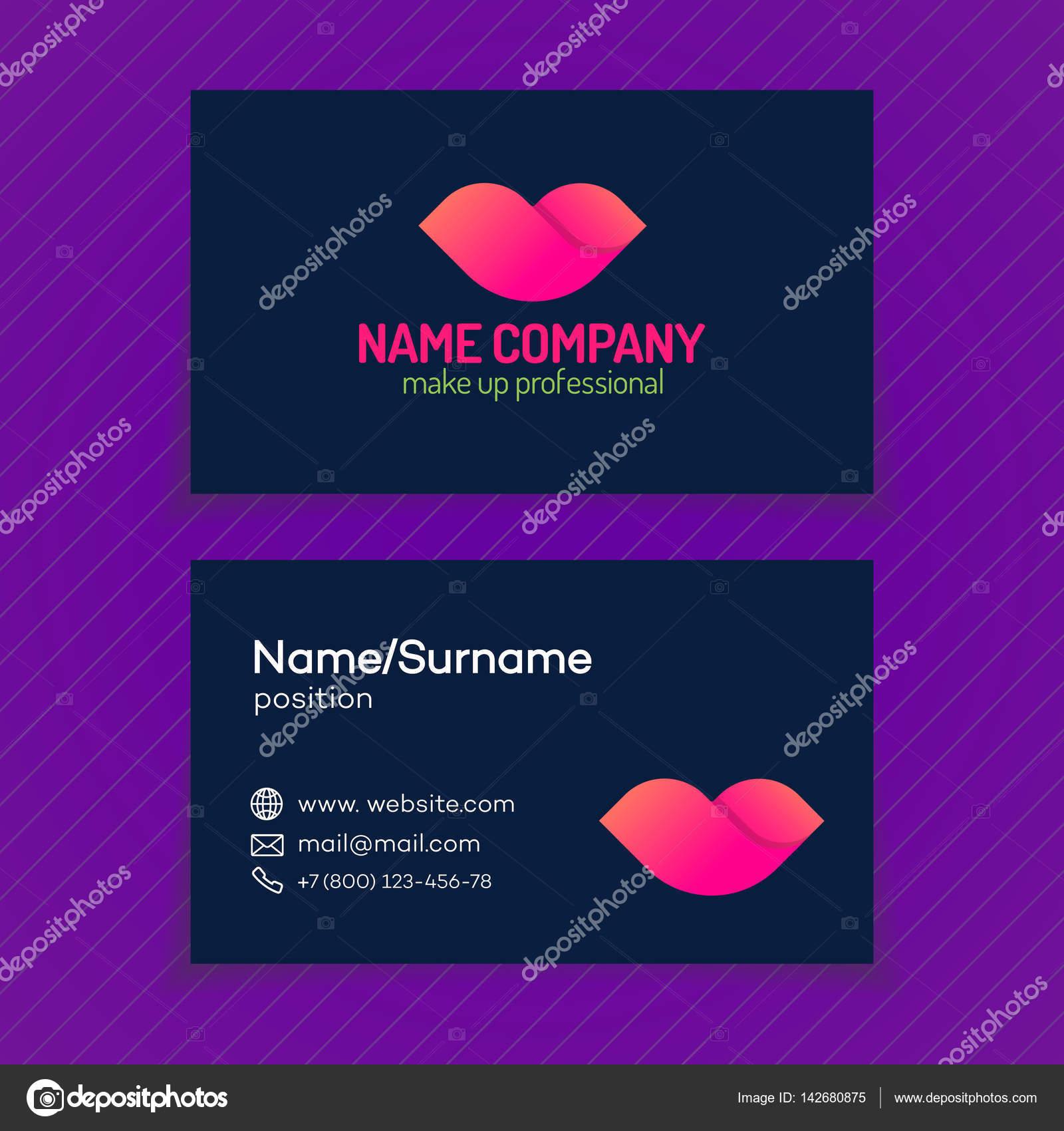 Carte De Visite Avec Logo Maquillage Compose Couleur Differente Levres Isole Sur Fond Composent Entreprise Professionnel Etc