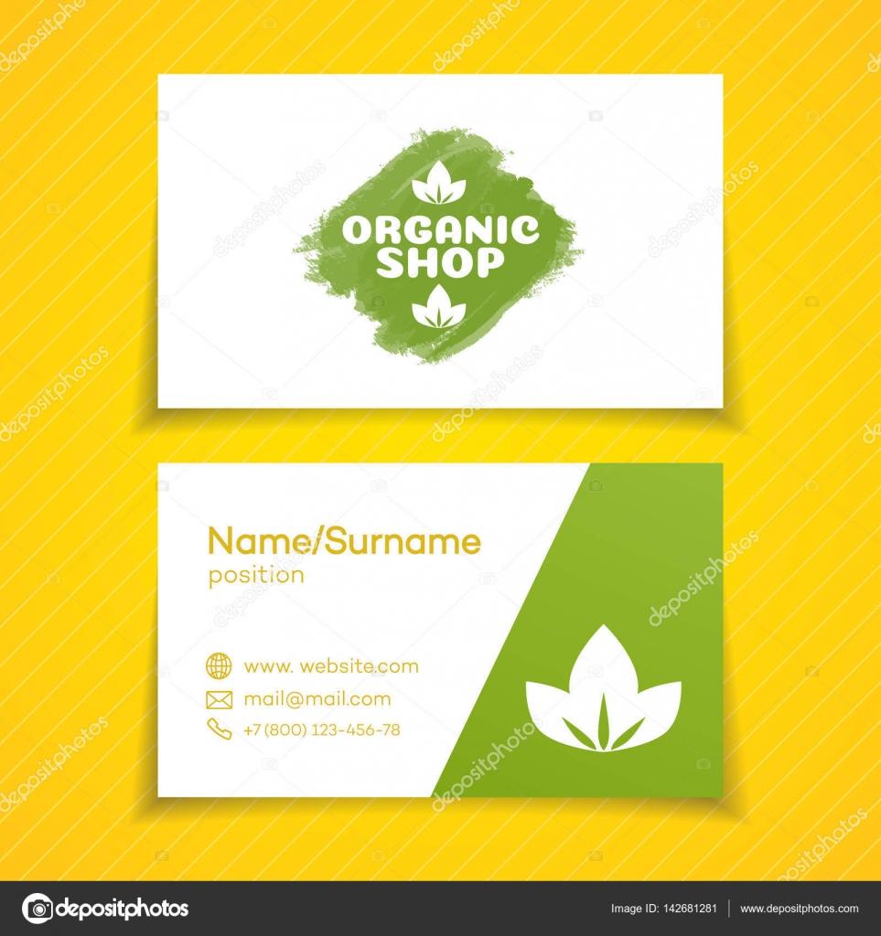 Business card with organic shop logo — Stock Vector © VI6277 #142681281