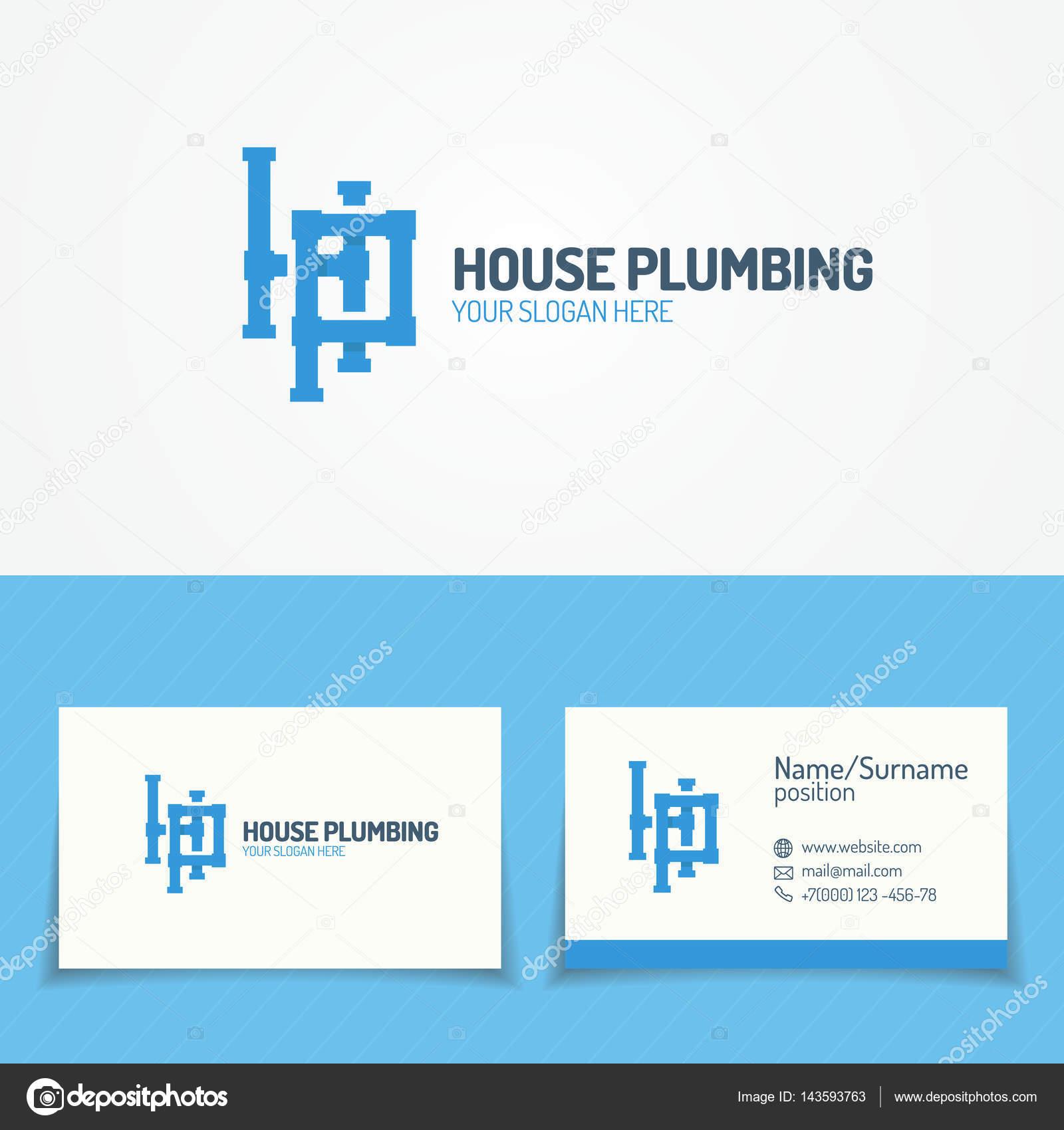 Plomberie Service Sertie De Pipelines Et Carte Visite Pour Le Logo Utilise Chauffage Company Sanitaire Cabinet Dhygiene