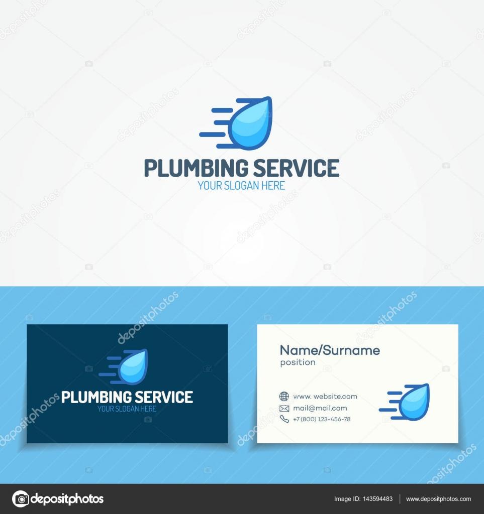 Logo Service De Plomberie Sertie Goutte Deau Volante Et Carte Visite Pour Utilise Chauffage Company Sanitaire Cabinet Dhygiene