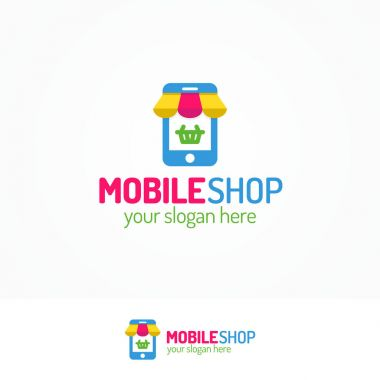 Mobile shop logo set with silhouette phone and basket