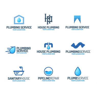 Plumbing service logo set color style