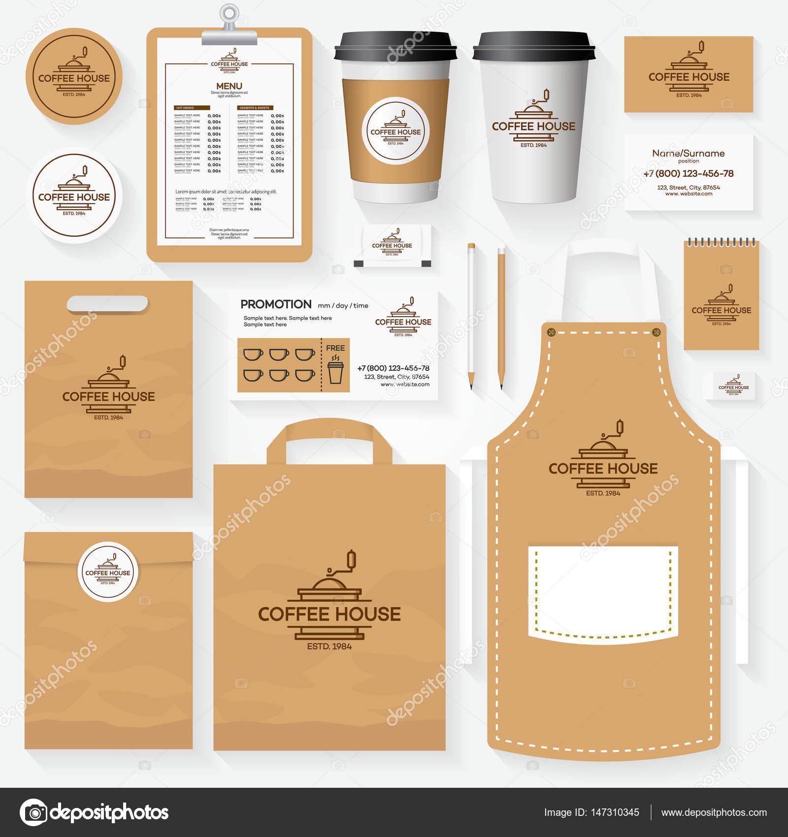Coffee shop szablon tożsamości korporacyjnej z logo maszyny do kawy