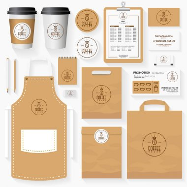 Coffee shop corporate identity template set with coffee bean logo.