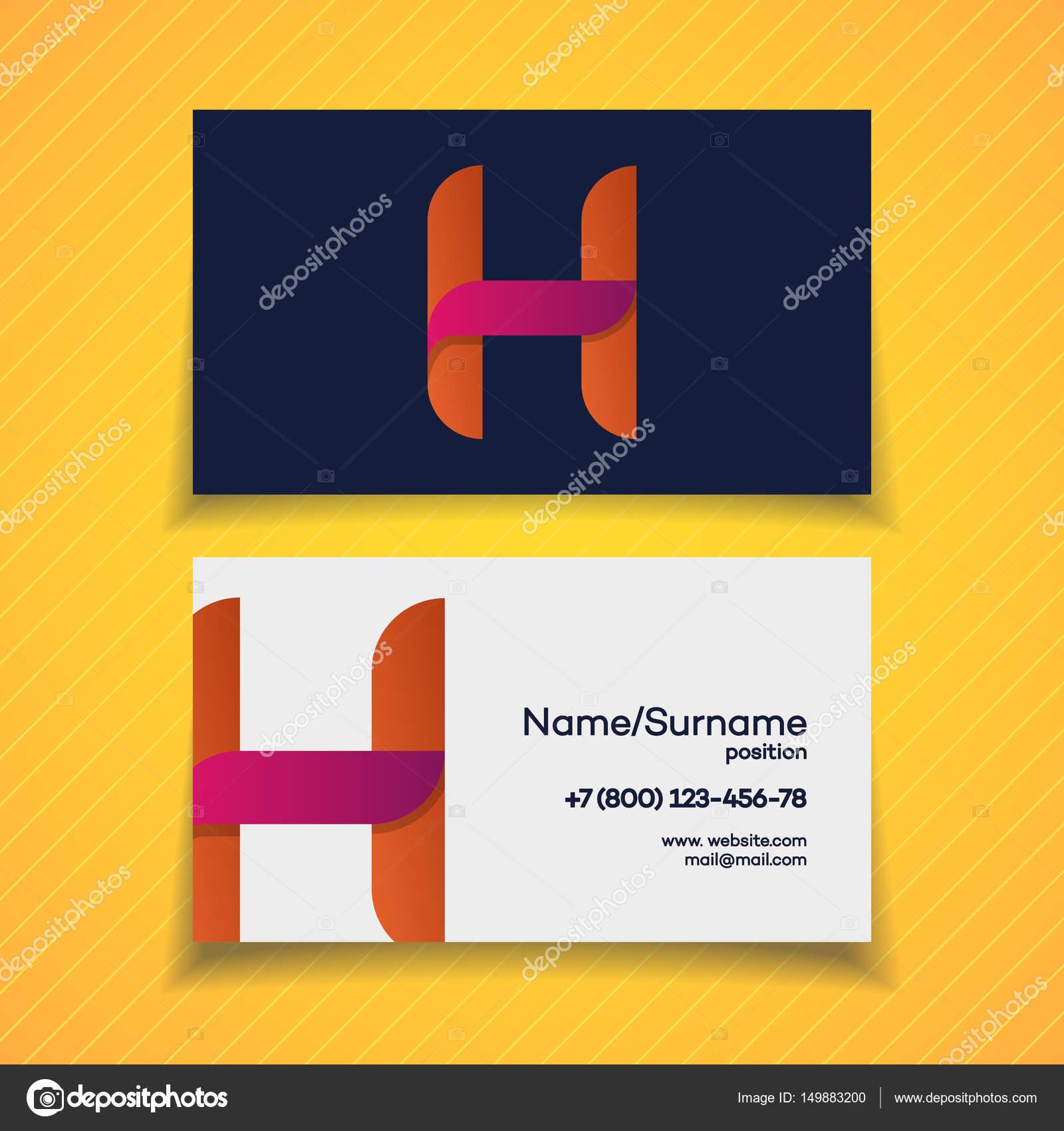 Modle De Conception Carte Visite Avec Le H Lettre Logo Couleur Utiliser