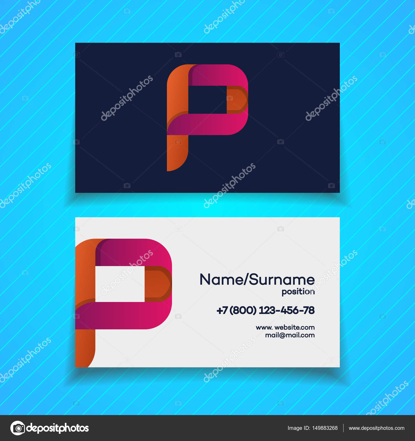 Business card design template with P letter logo modern color ...