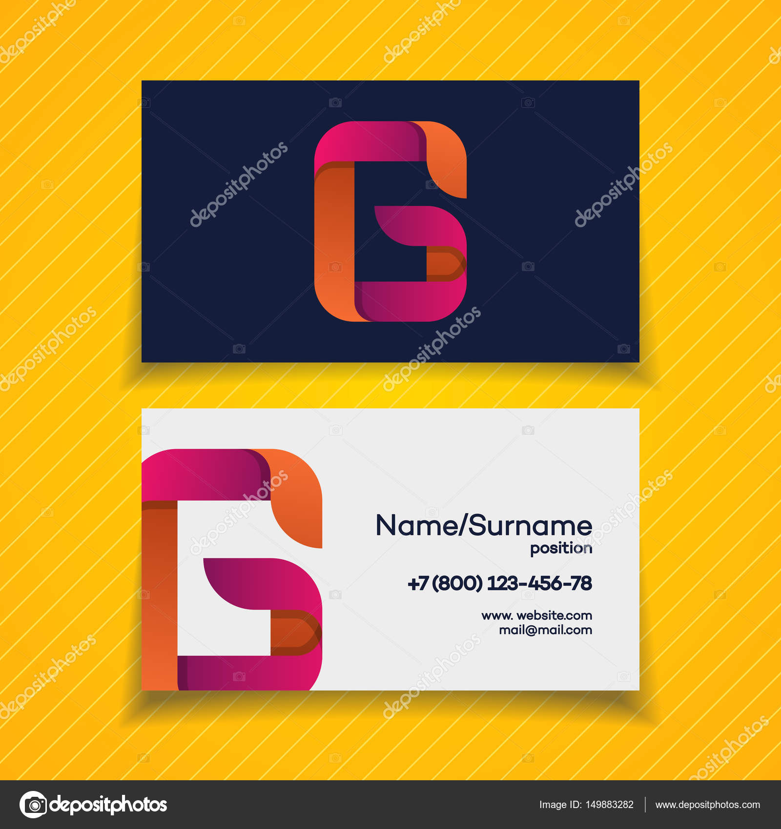 Business card design template with G letter logo modern color style ...