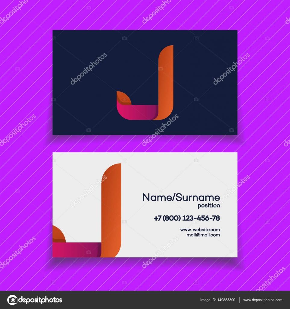 Modle De Conception Carte Visite Avec Le Couleur Moderne J Lettre Logo Sur Fond Violet Pour Votre Identit Dentreprise Business Design Et