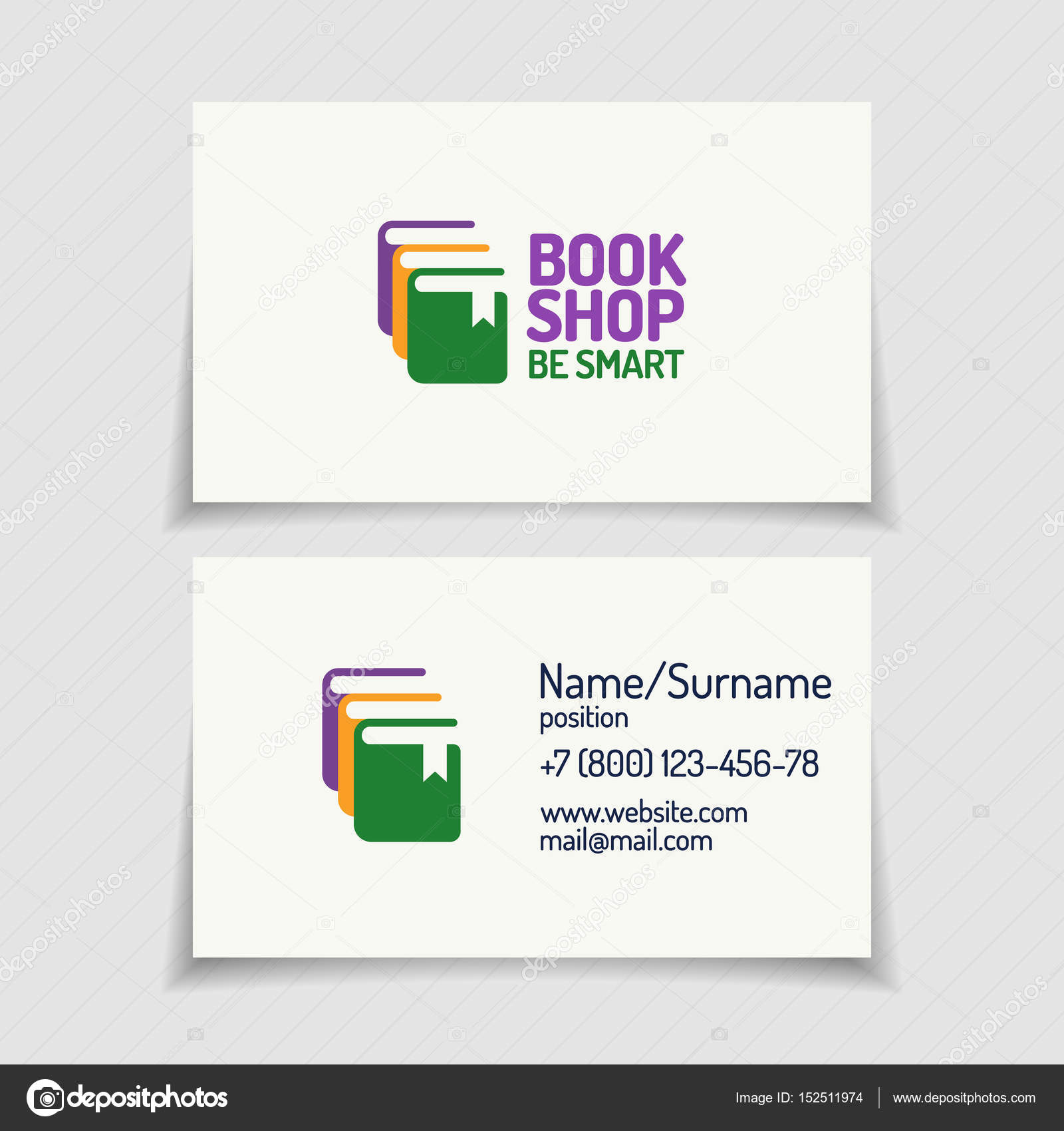 Business card with book shop logo consisting of silhouette books ...