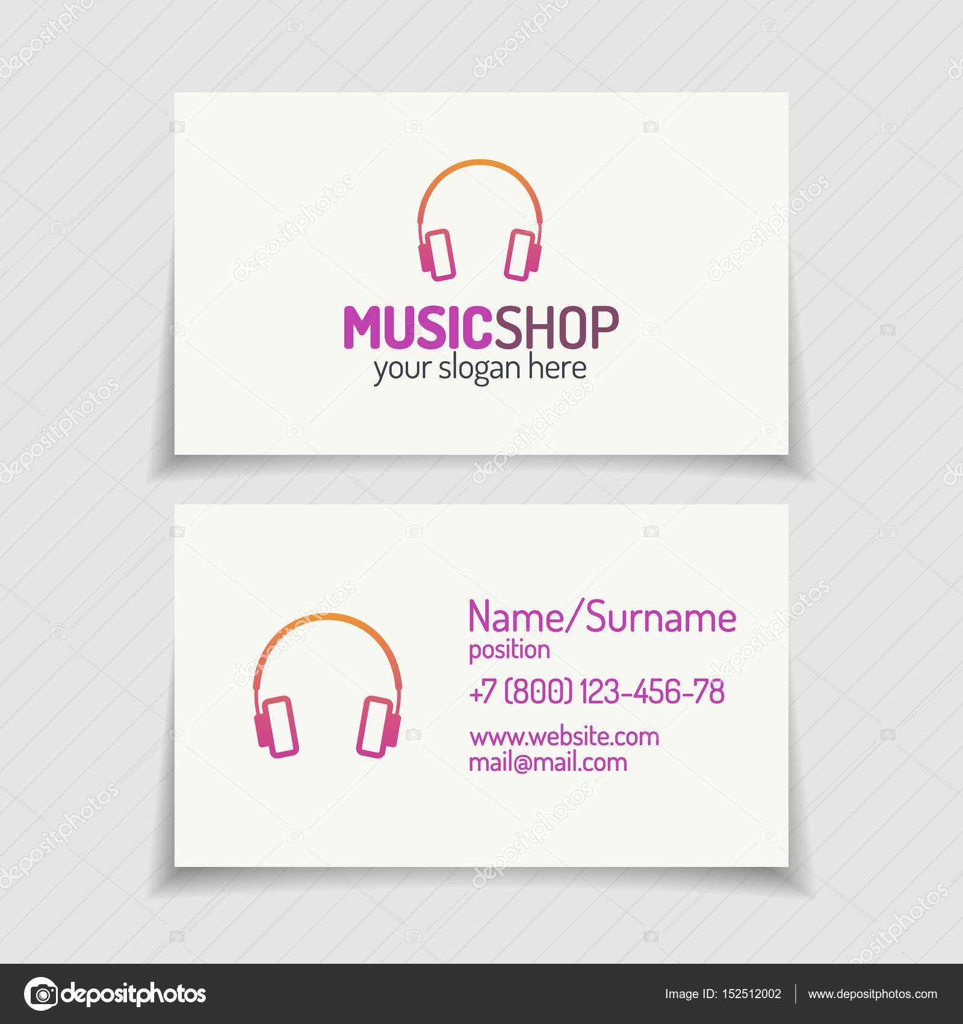 Carte De Visite Avec Logo Boutique Musique Style Moderne Plat Couleur Casque Pour Le Magasin