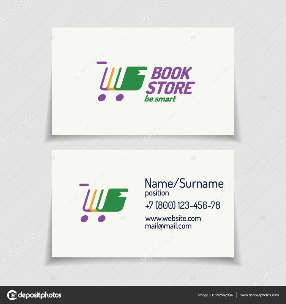 Business card with book store logo consisting of books stock business card with book store logo consisting of books different color and silhouette shopping cart for use bookshop market sale etc reheart Image collections