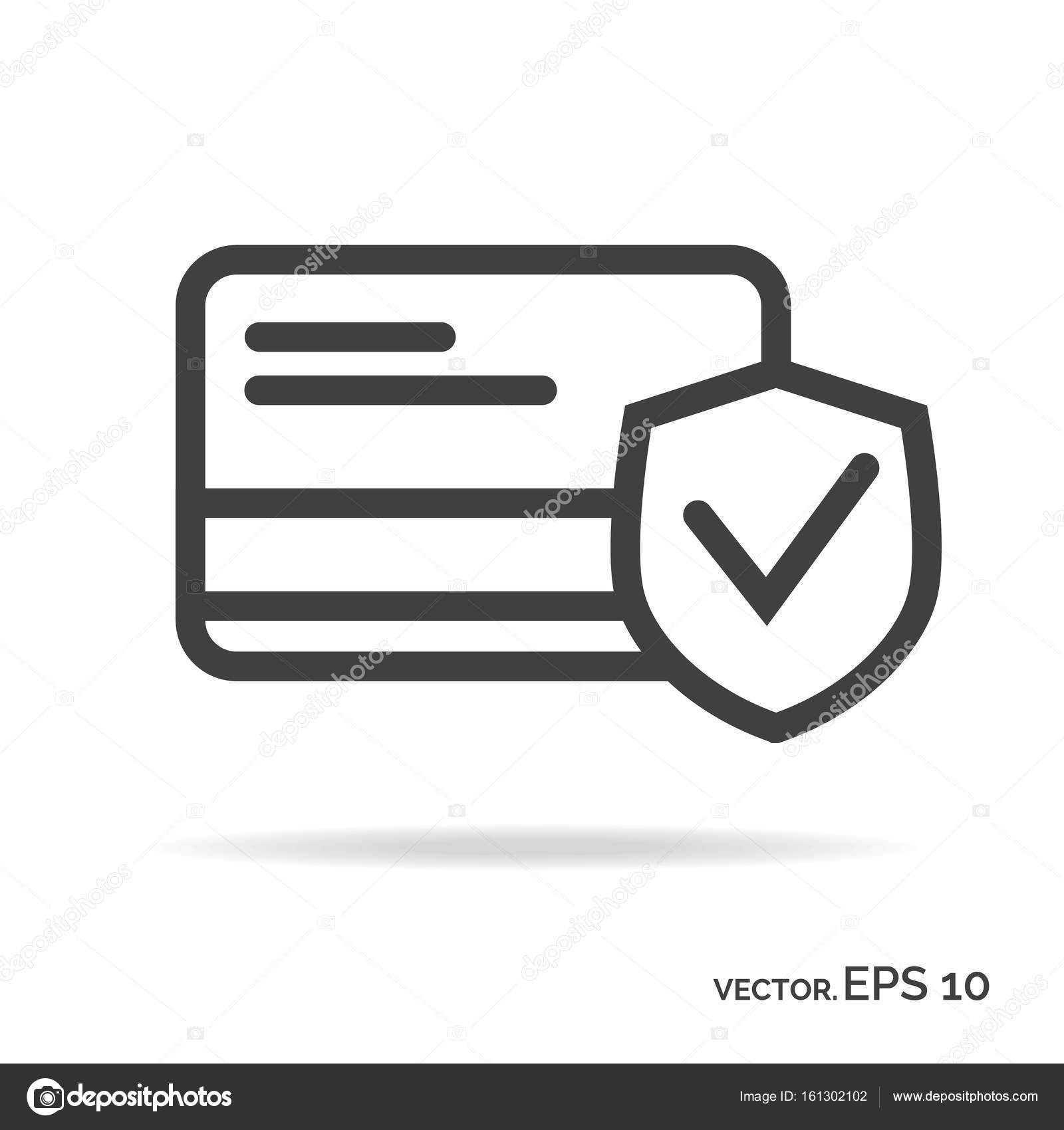Business card security outline icon black color — Stock Vector ...