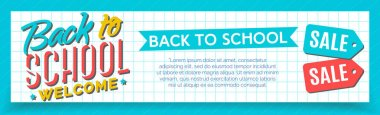 Back to school banner with color label and school sale on checkered board