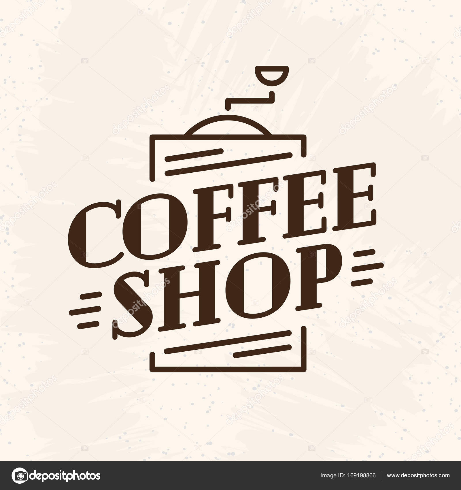 Coffee Shop Logo With Coffee Machine Line Style Isolated On