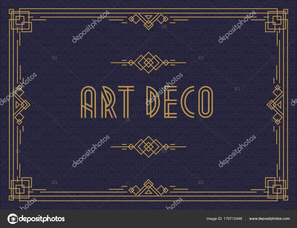 Wedding Invitation Card Template Horizontal Art Deco Style With