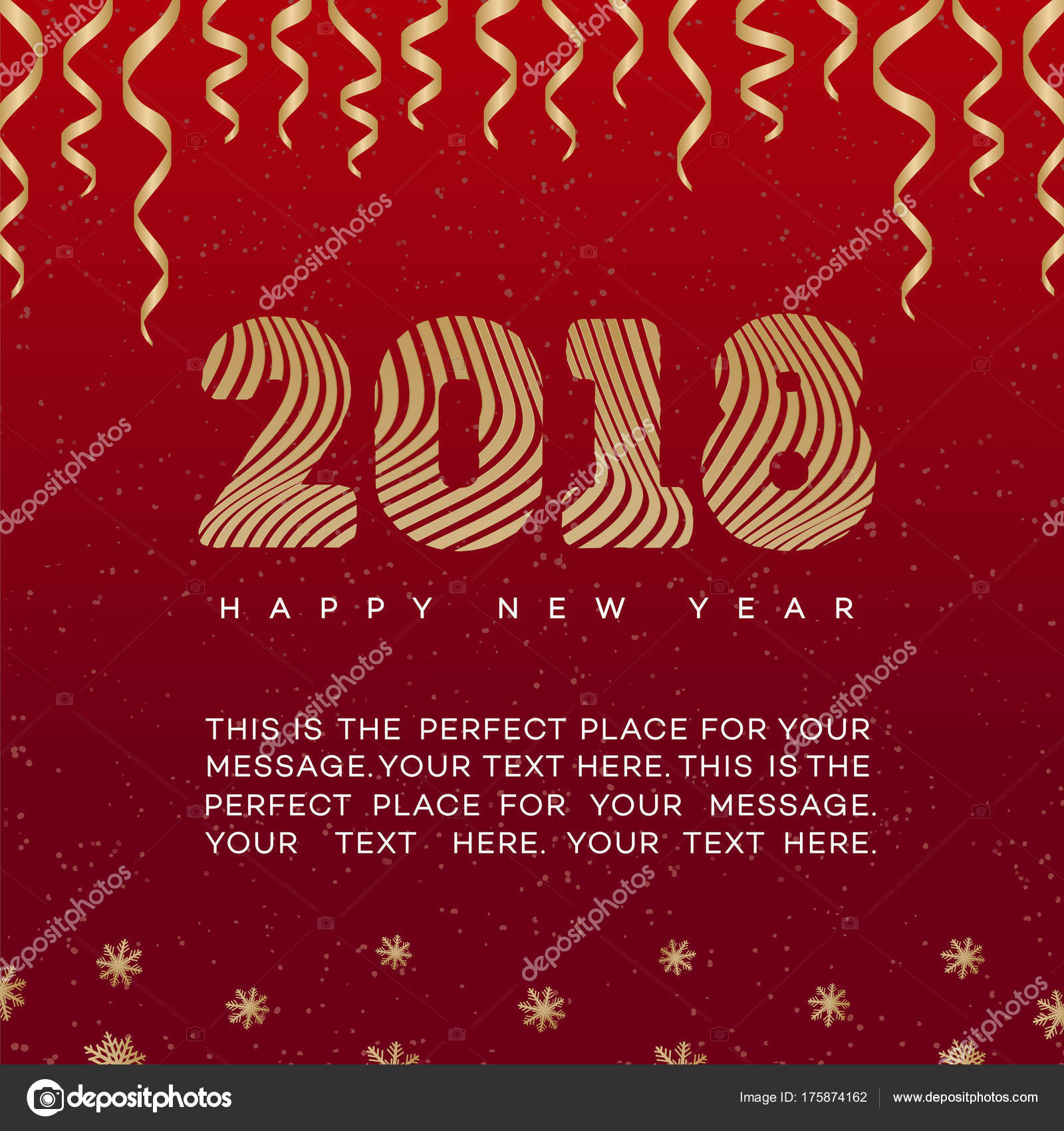 christmas card with ribbon and sign 2018 happy new year gold style on red background for - How To Sign A Christmas Card