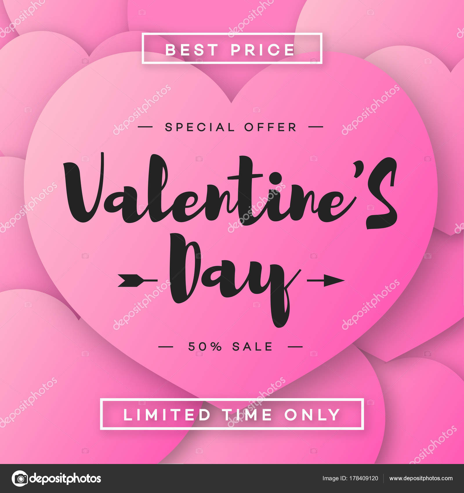 Valentines Day Banner Sale With Special Offer On Pink Hearts