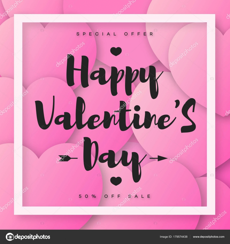 Happy Valentines Banner Sale With Wish And White Frame On Pink