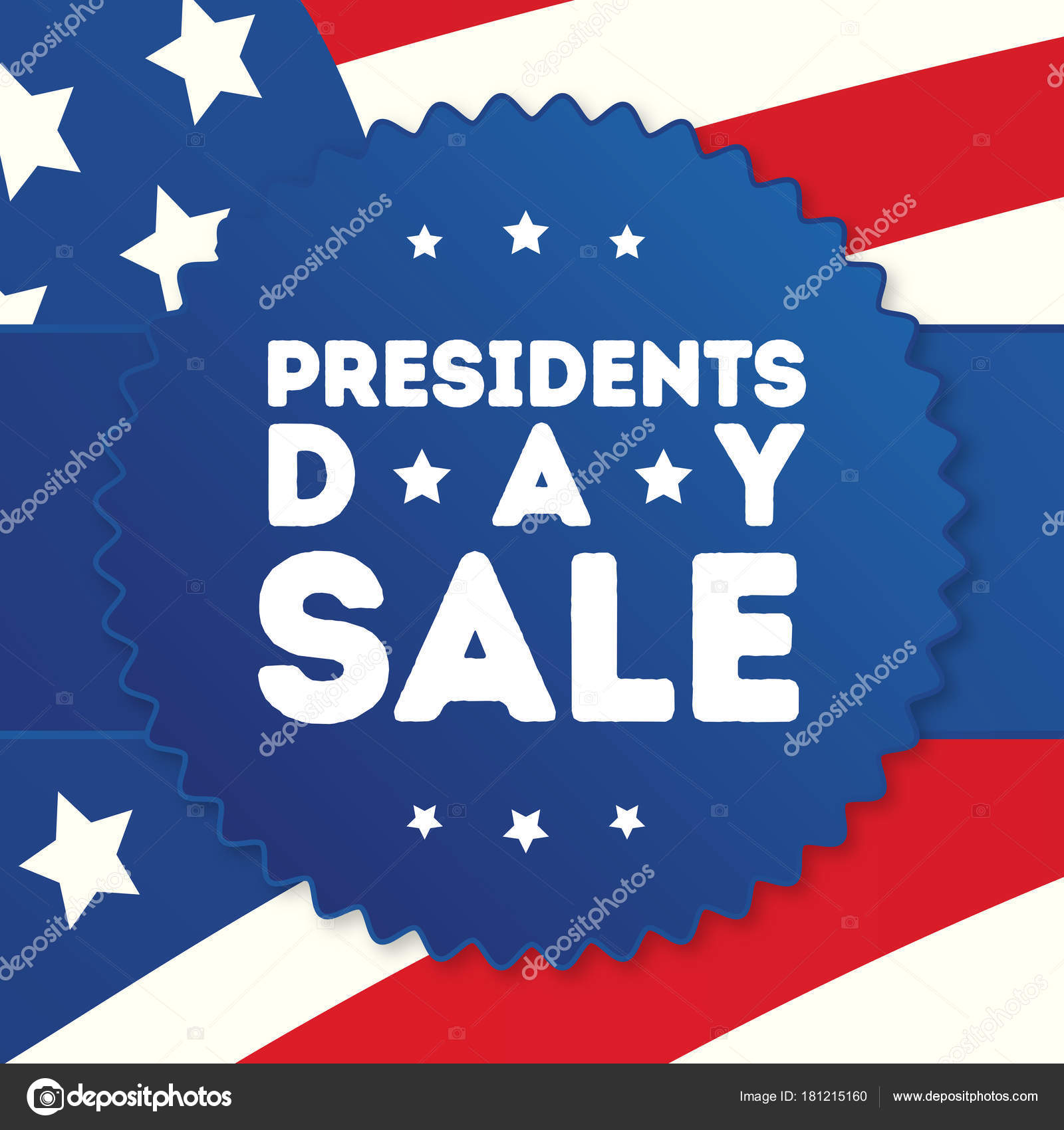 Happy President Day Sale Banner With American Flag Background For