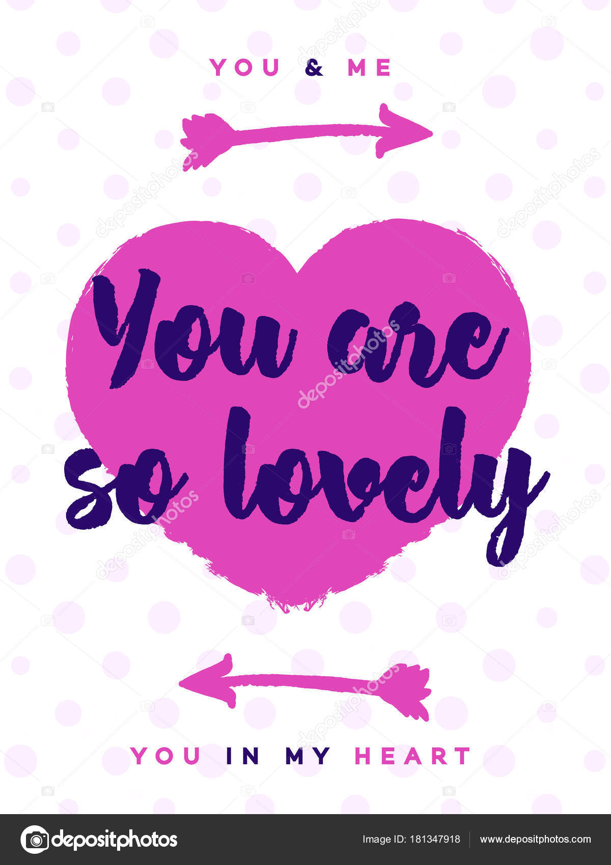 Valentines Day Greeting Card With Sign You Are So Lovely On Cute