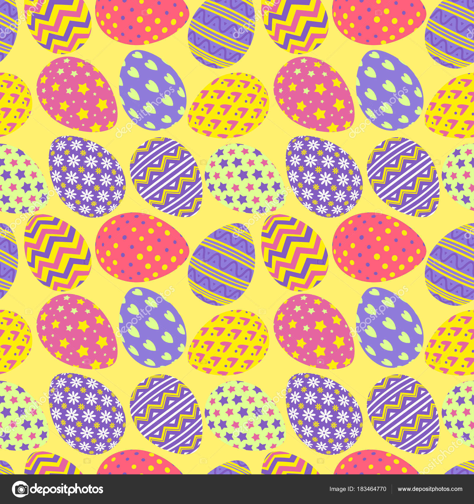 Happy Easter Eggs Pattern Colorful Style With Different Pattern For