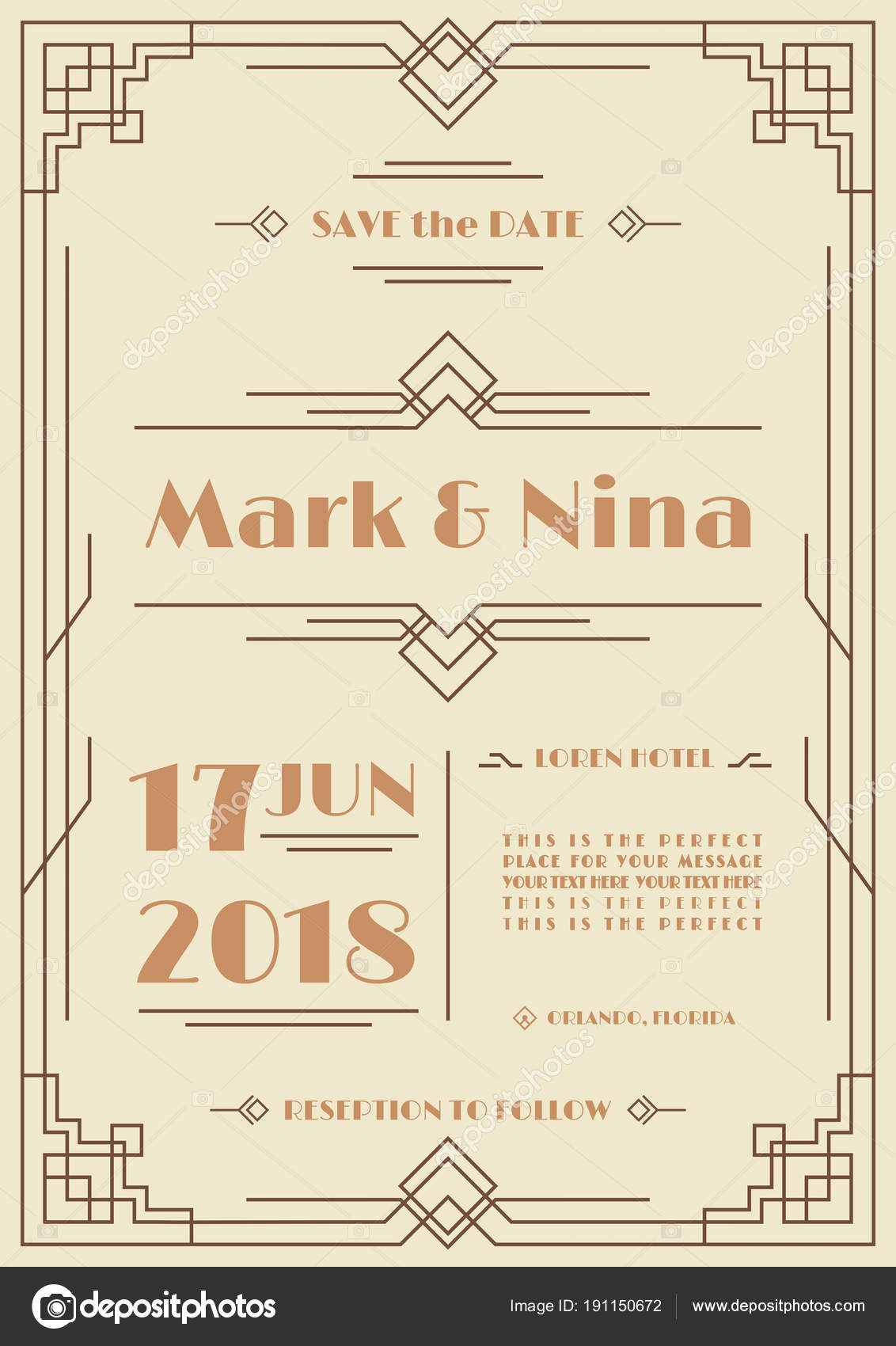 vector wedding invitation card template brown color art deco and ...