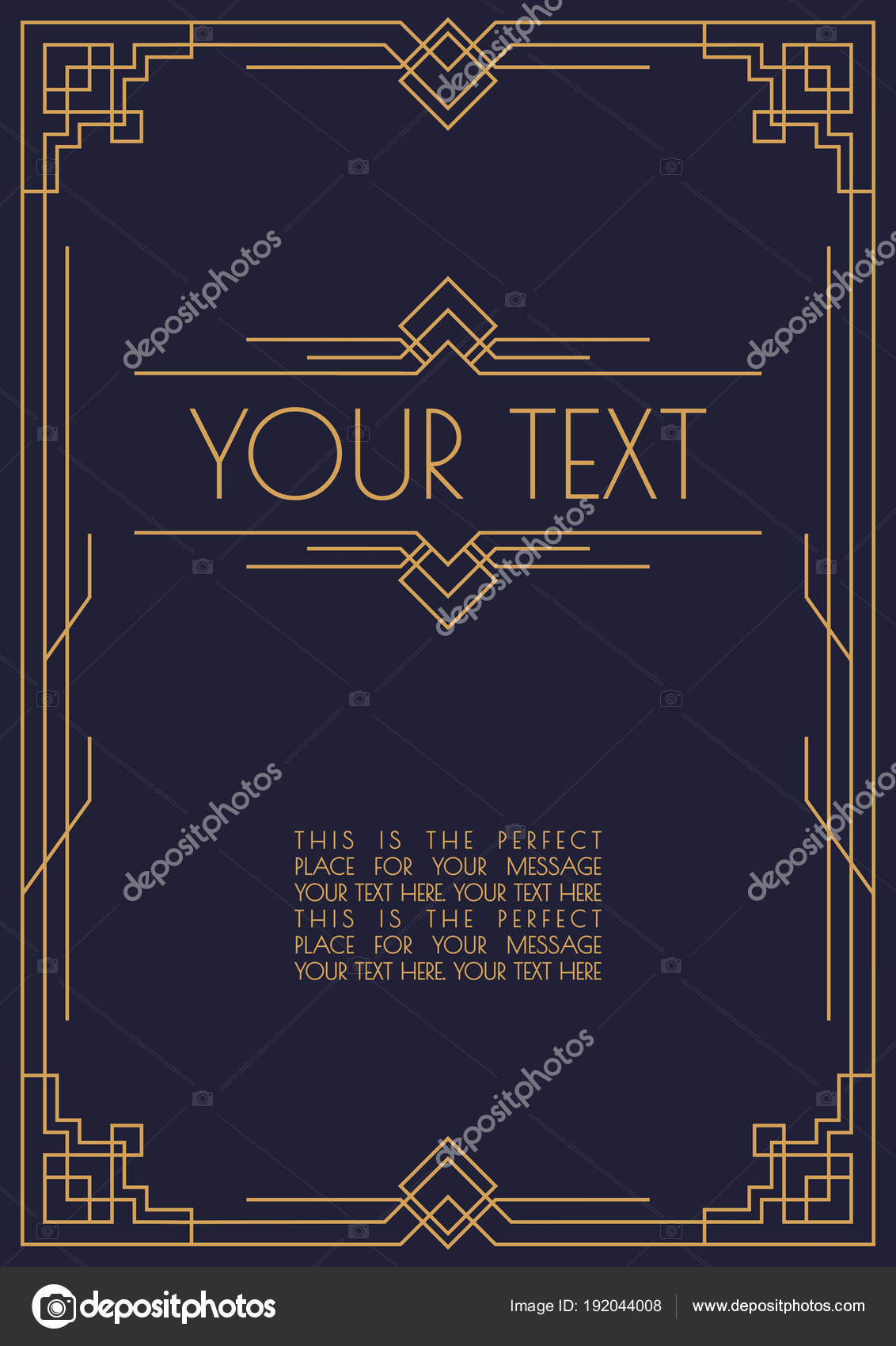 Invitation Template Art Deco And Arabic Style With Frame Line Gold