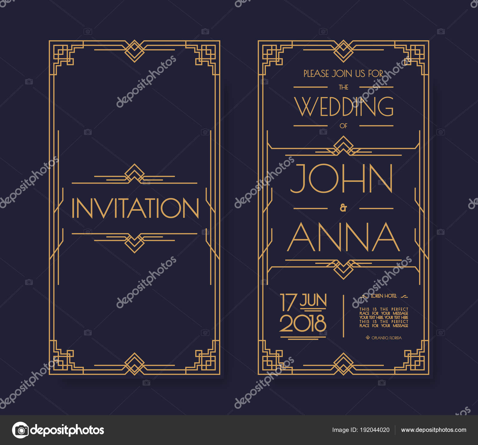vector art deco and arabic vintage wedding invitation template set