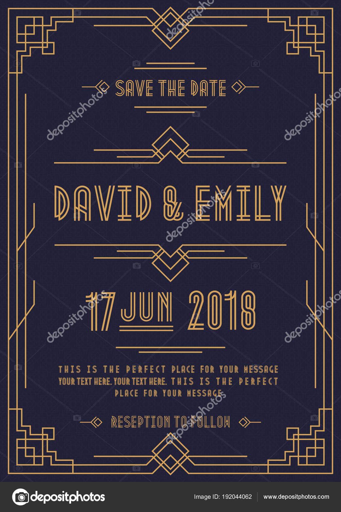 Art Deco Vintage Wedding Invitation Template With Gold Color Frame